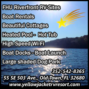 Yellow Jacket RV Resort of Dixie County ad on HardisonInk.com